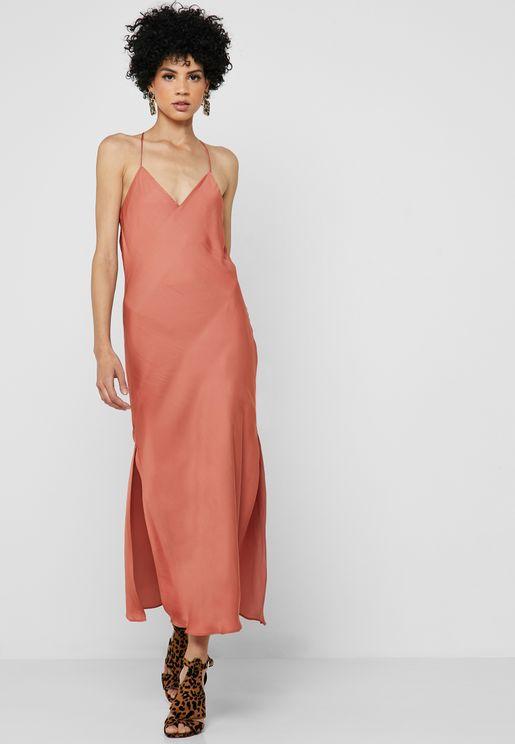 Open Back Side Split Dress