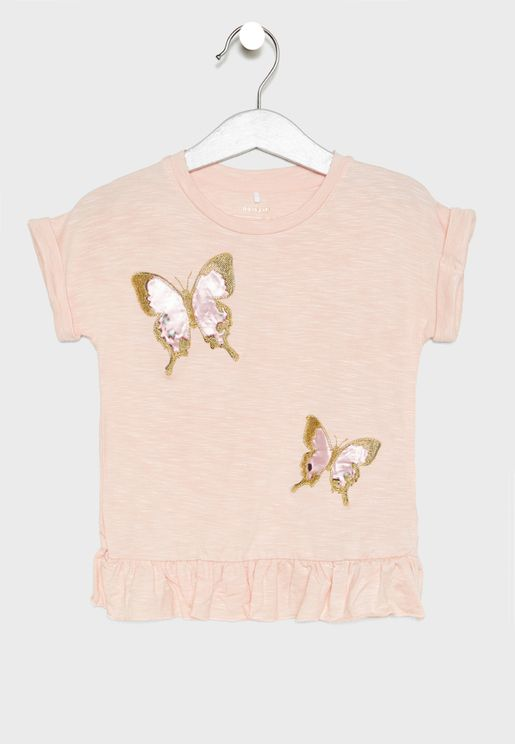 Kids Butterfly Embroidered Top