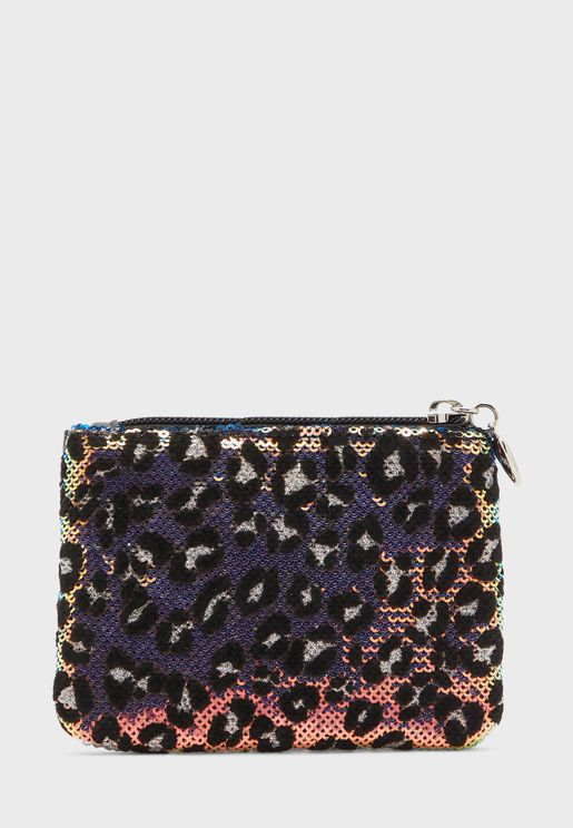 Leopard Print Sequin Purse