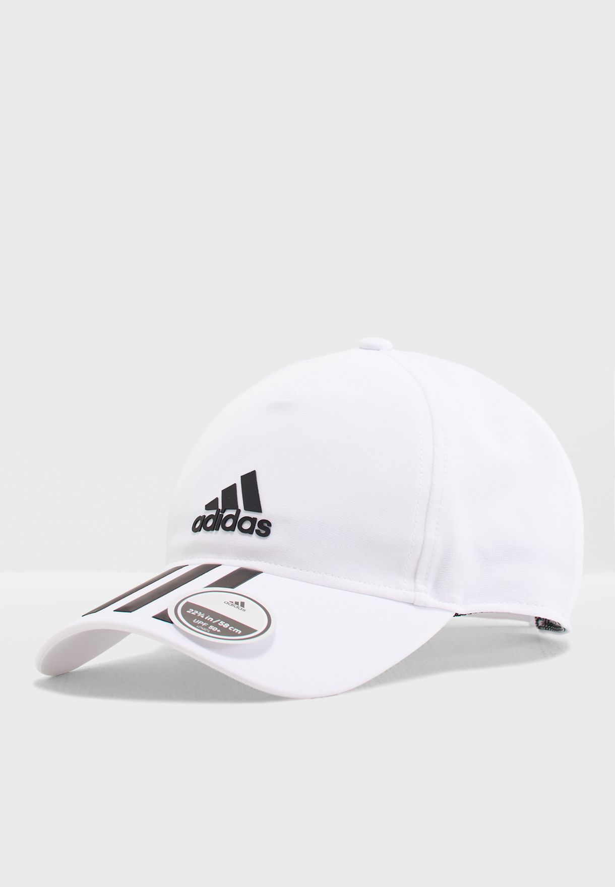 1cccbcfa260 Shop adidas white C40 6 Panel 3 Stripe Climalite Cap DT8544 for Men ...