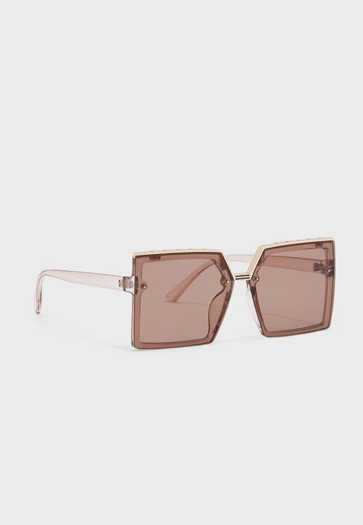 Oversized Square Gold Trim Sunglasses
