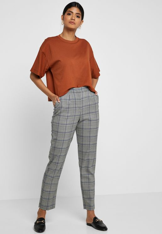 Tapered Checked Pants