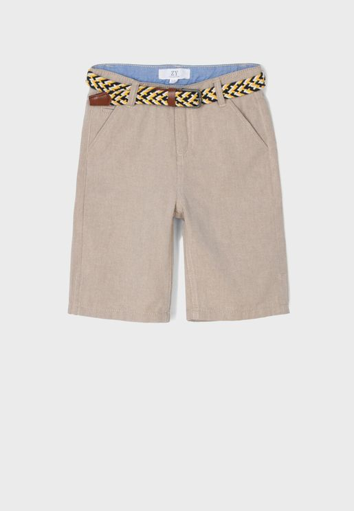 Kids Belted Chino Shorts