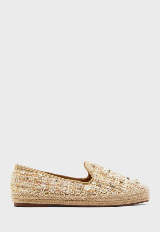 Tweed Style Espadrille With Pearl And Diamante Det