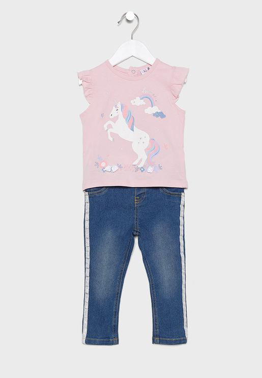 Infant Unicorn Top + Jeans Set