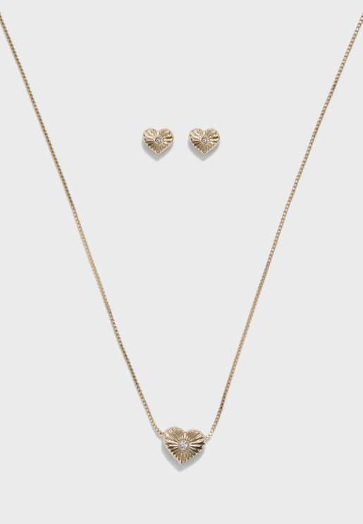 Heart Of Gold Necklace+Earring Set