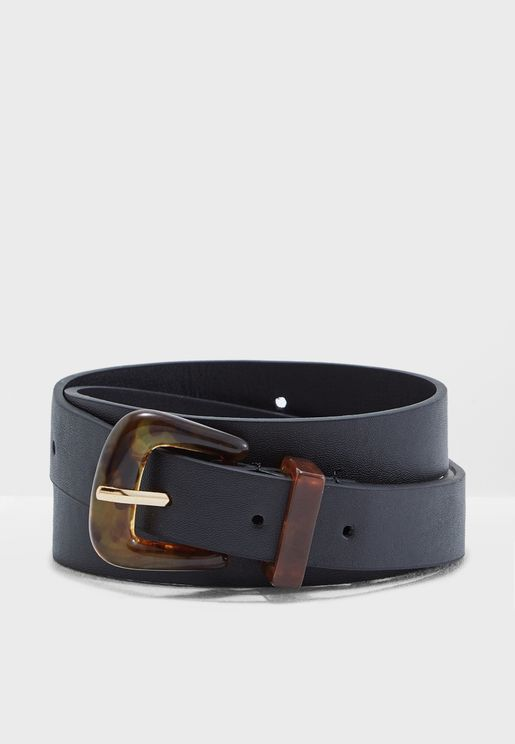 Jeans Belt With Resin Buckle Detail