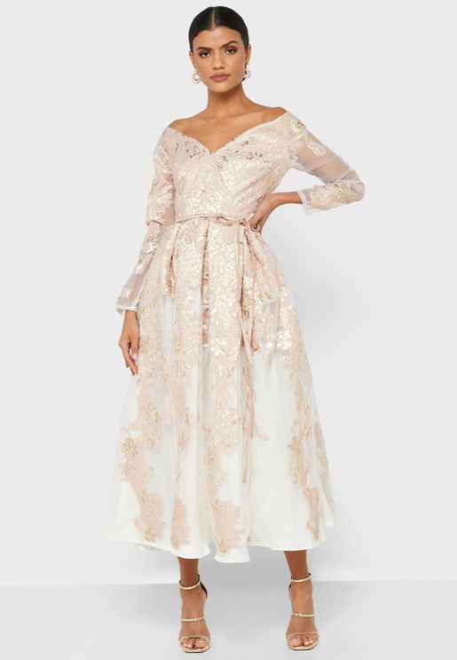 Off Shoulder Pleated Jacquard Dress