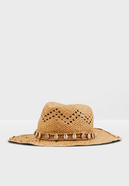 11fc093ad222f Stone Straw Effect Shell Trim Cowboy Hat