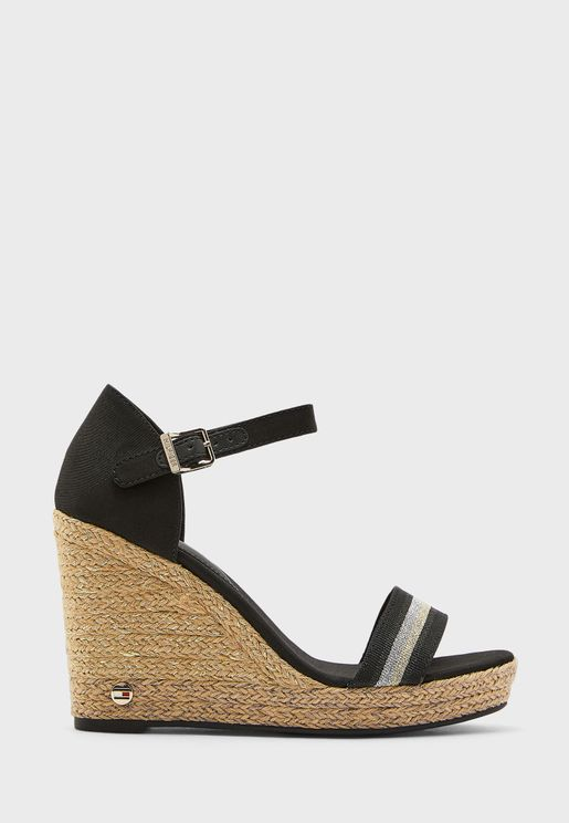 Grosgrain High Heel Wedge Sandal