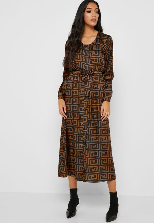 Geo Print Drawstring Shirt Midi Dress