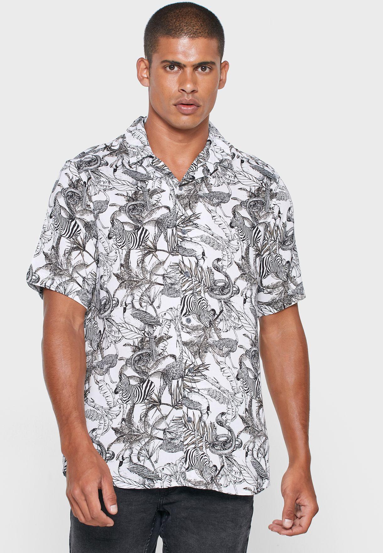 Only & Sons Gabrial Animal Print Slim Fit Shirt - Fashion