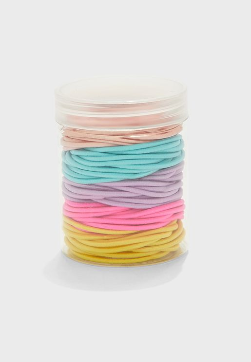 Pack Of 100 Mixed Brightly Coloured Hair Elastics