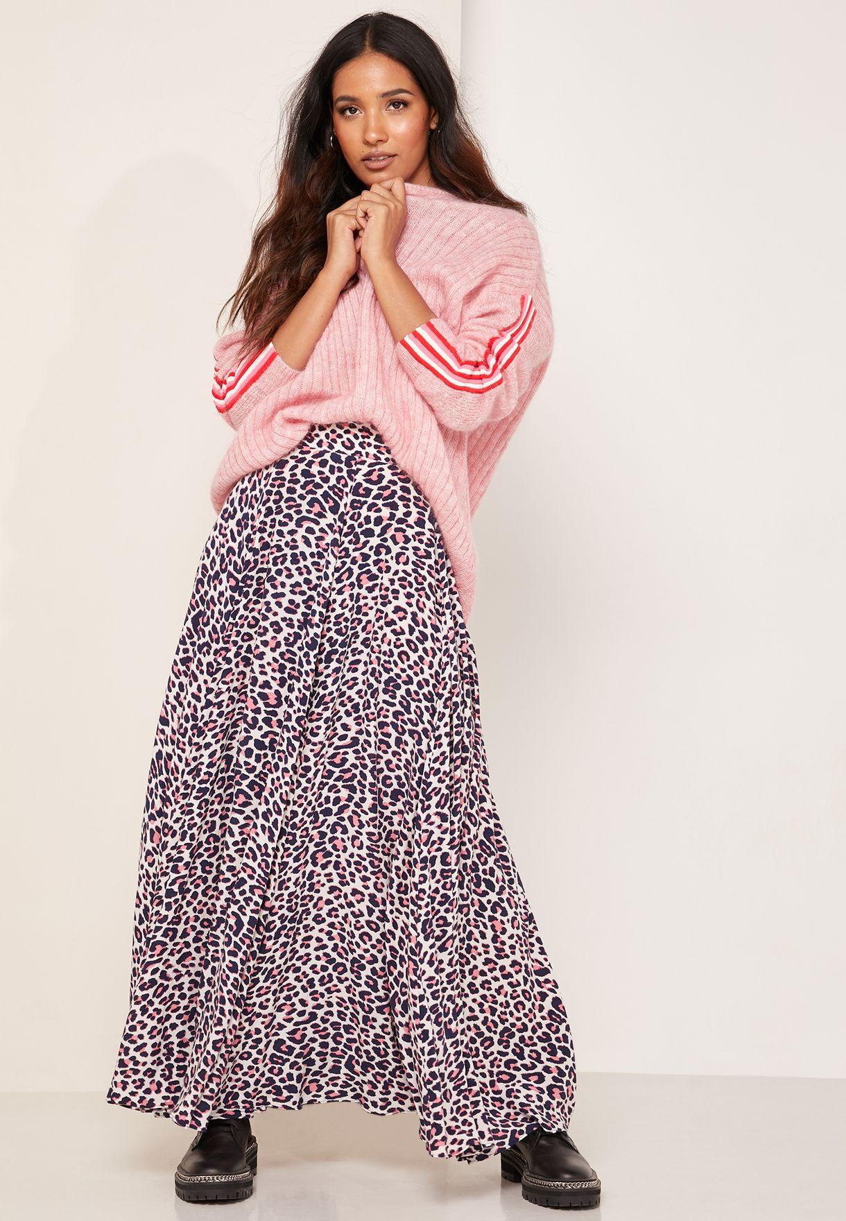 Leopard Print A-Line Maxi Skirt