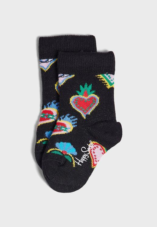 Kids Sacred Heart Crew Socks