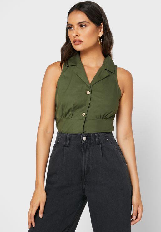 Button Down Crop Shirt