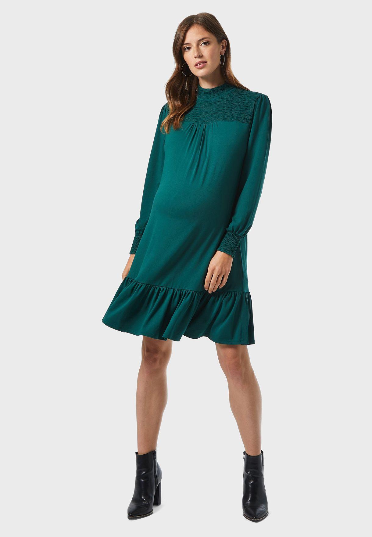 Shirred Yoke Dress