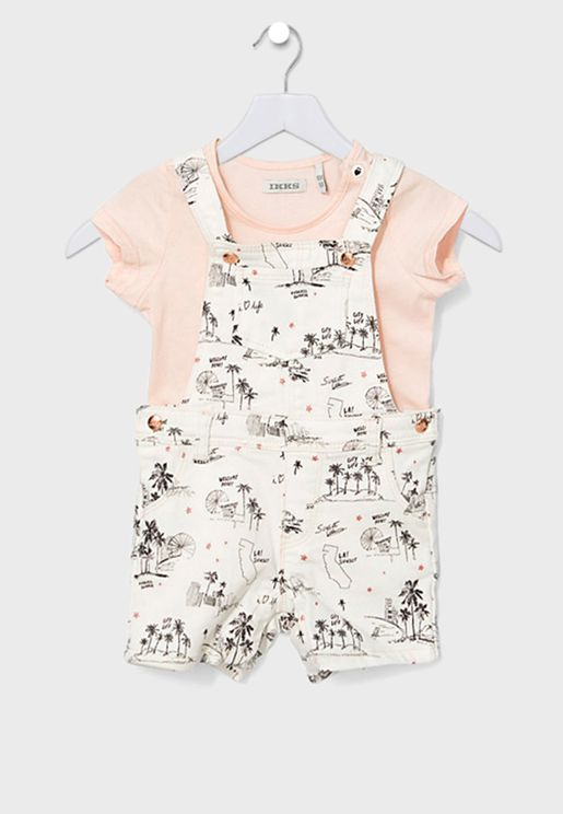 Kids Printed Playsuit Set
