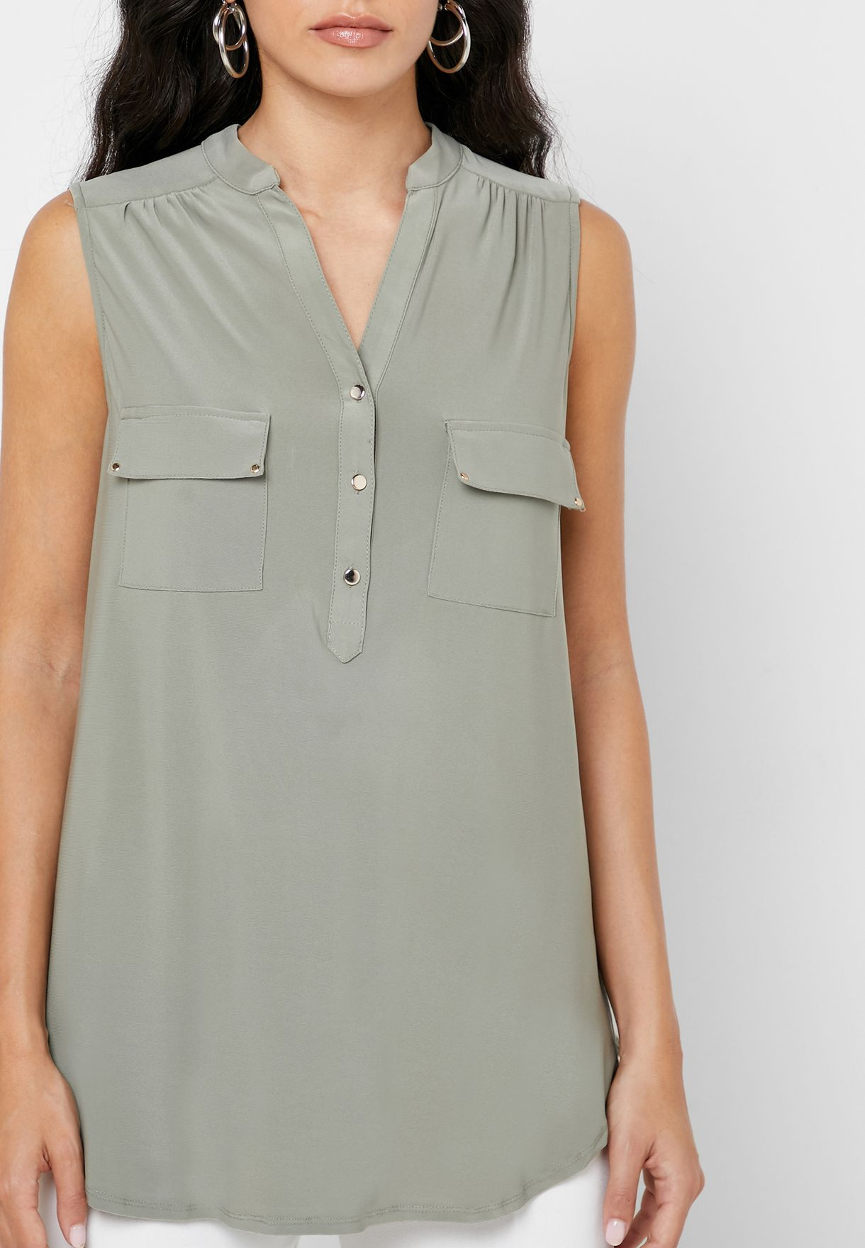 Sleeveless Button Detail Shirt