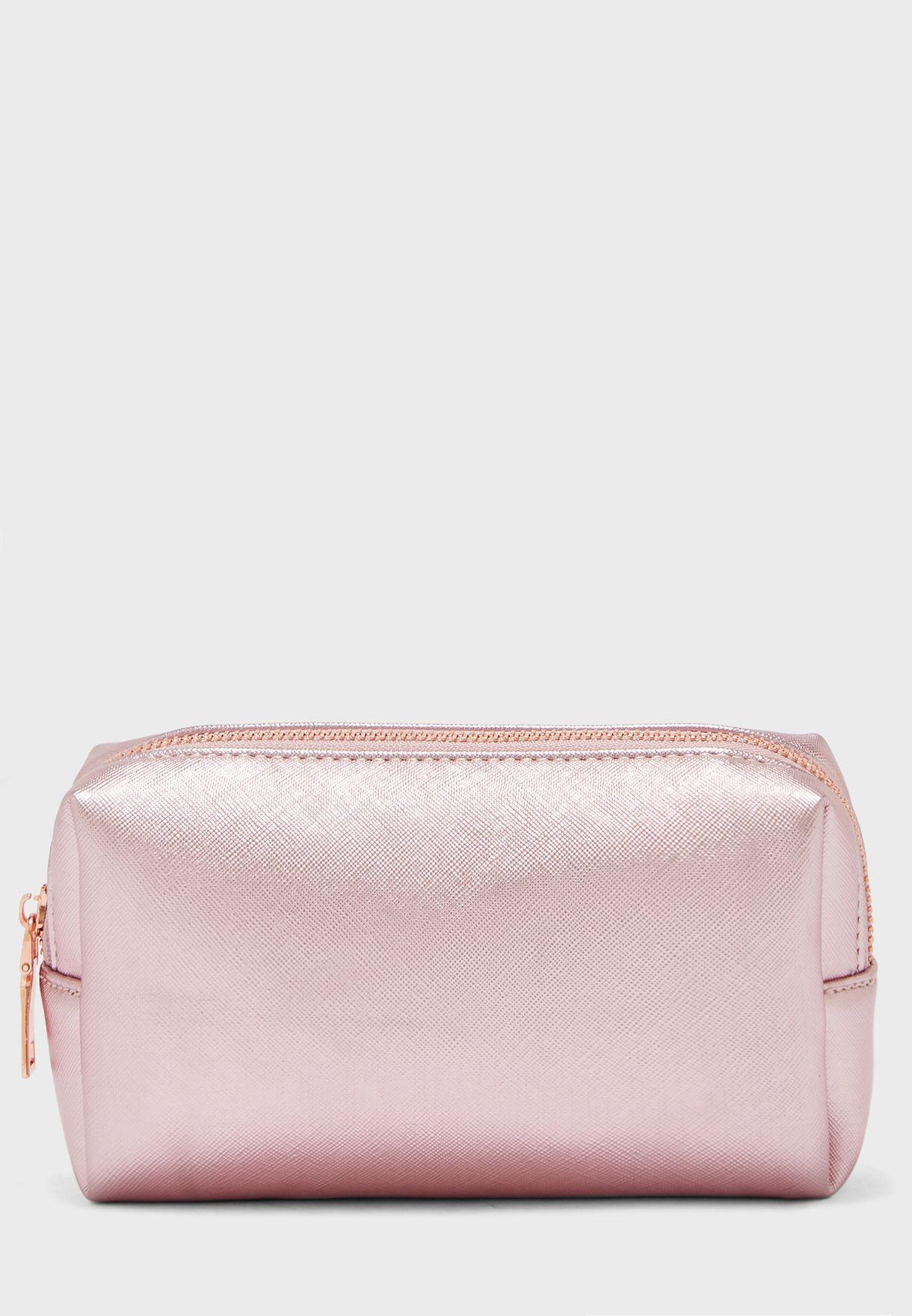 Pink Metallic Crosshatch Cosmetic Bag