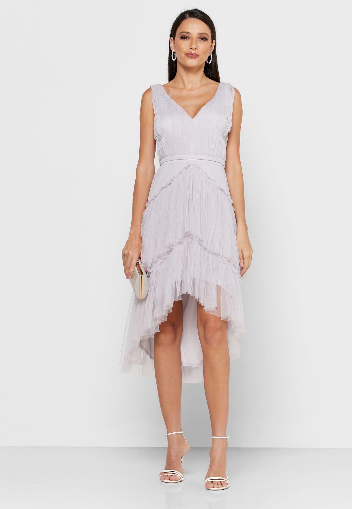 Layered Mesh Asymmetric Dress