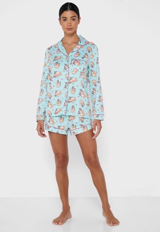 Corgi Button Up Eco Pyajama Set
