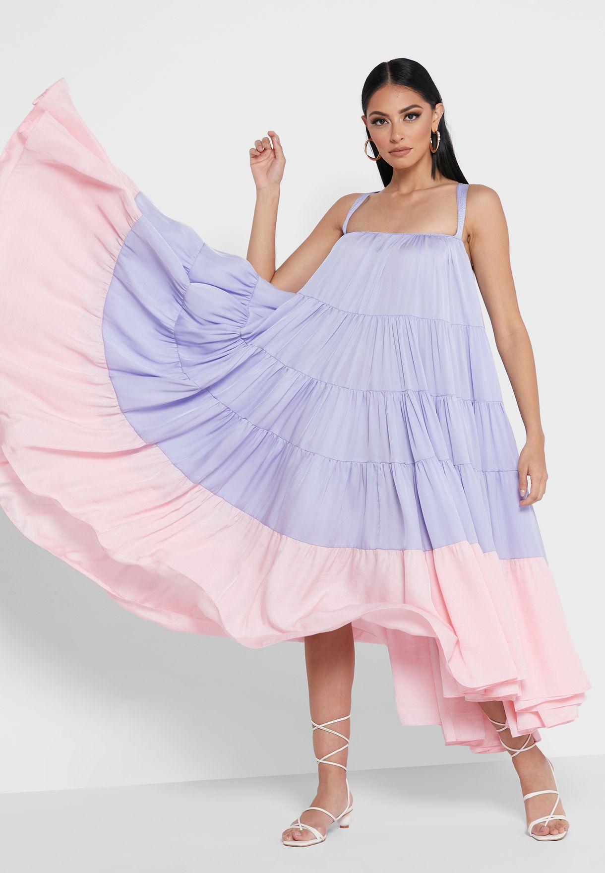 Cori Cross-Back Cami Tiered Dress