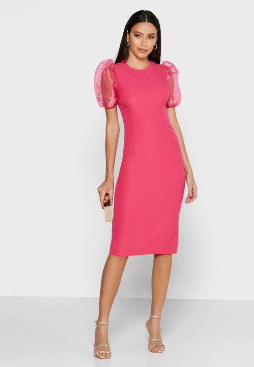 Sheer Puffed Sleeve Midi Dress