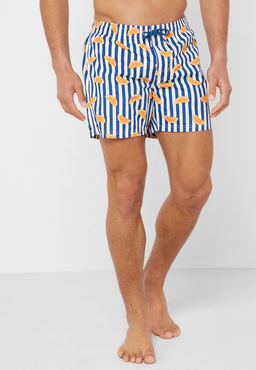 b52e2a18bba3c Orange Printed Swim Shorts