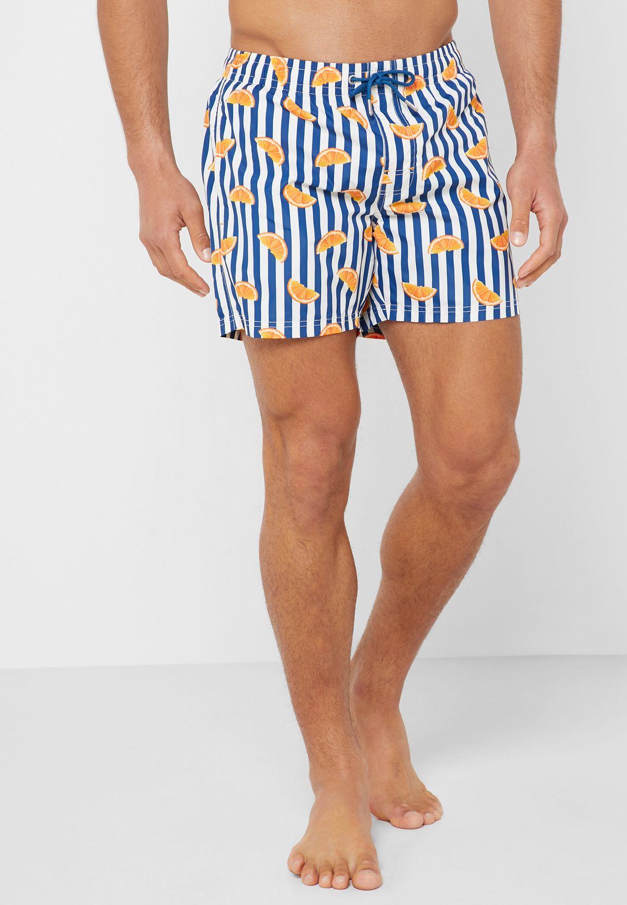 Orange Printed  Swim Shorts