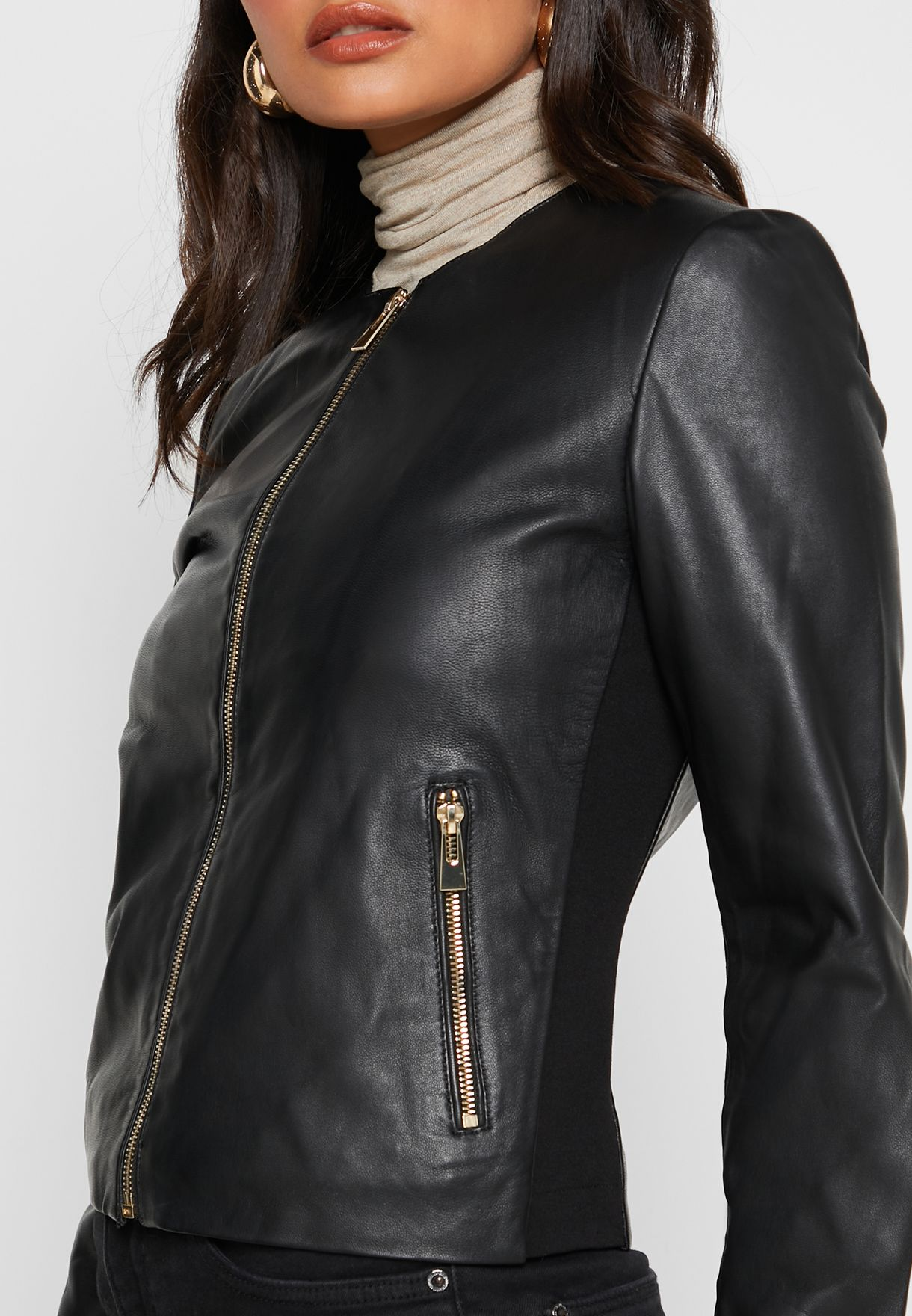 Zip Through Pu Jacket