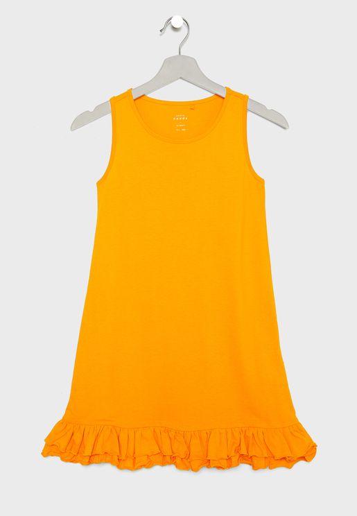 فستان مزين بحافة كشكش