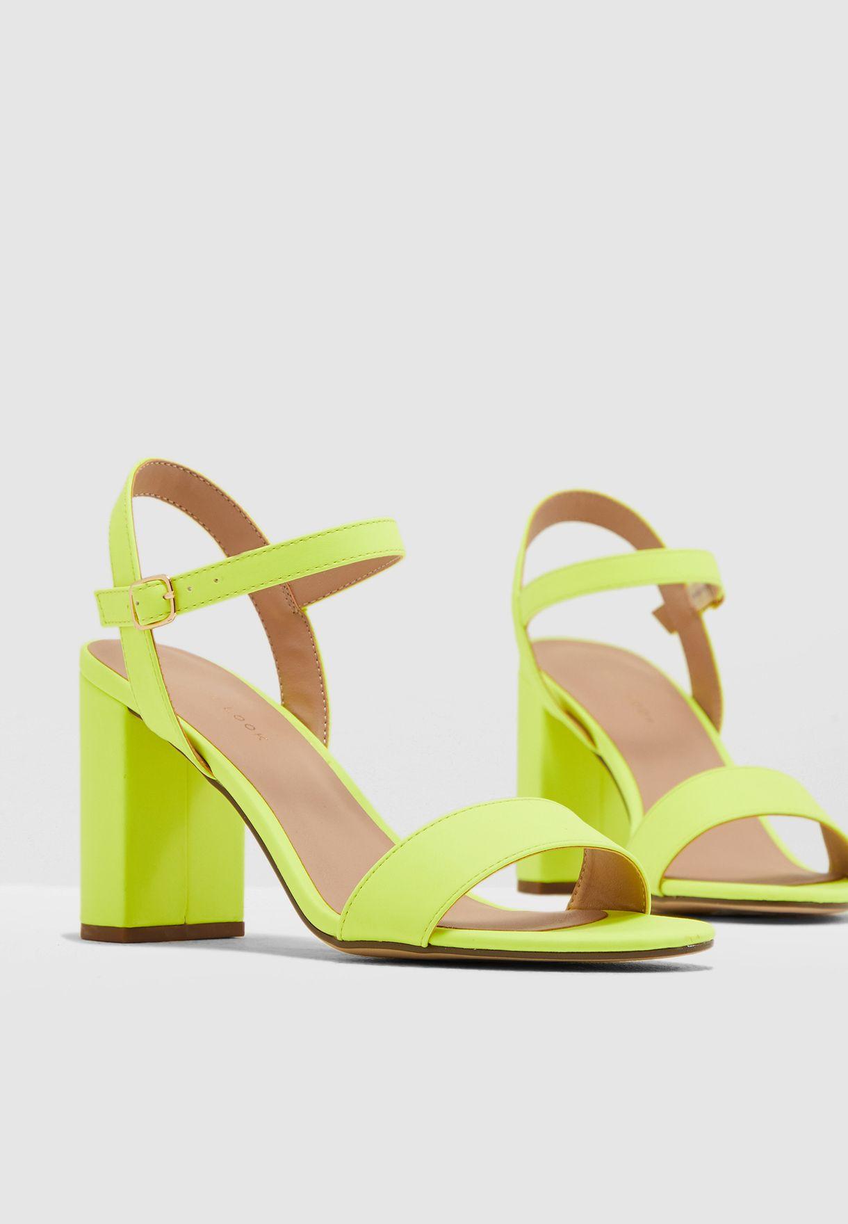 Neon Block Heels Sandal