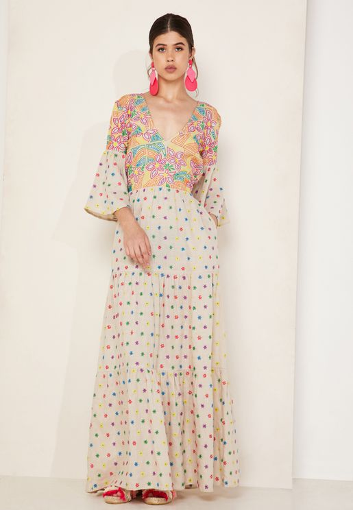Maui Embroidered Tiered Maxi Dress