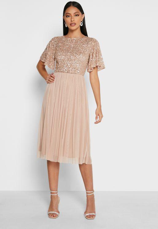 فستان ميدي مرصع بالترتر