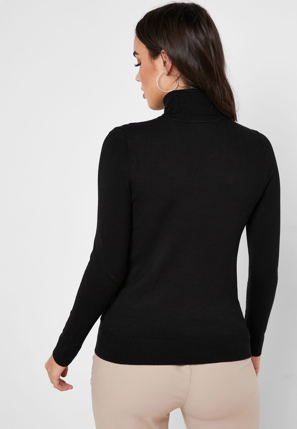 Roll Neck Stud Detail Sweater