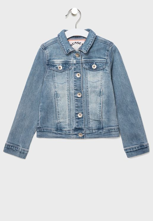Kids Button Detail Denim Jacket