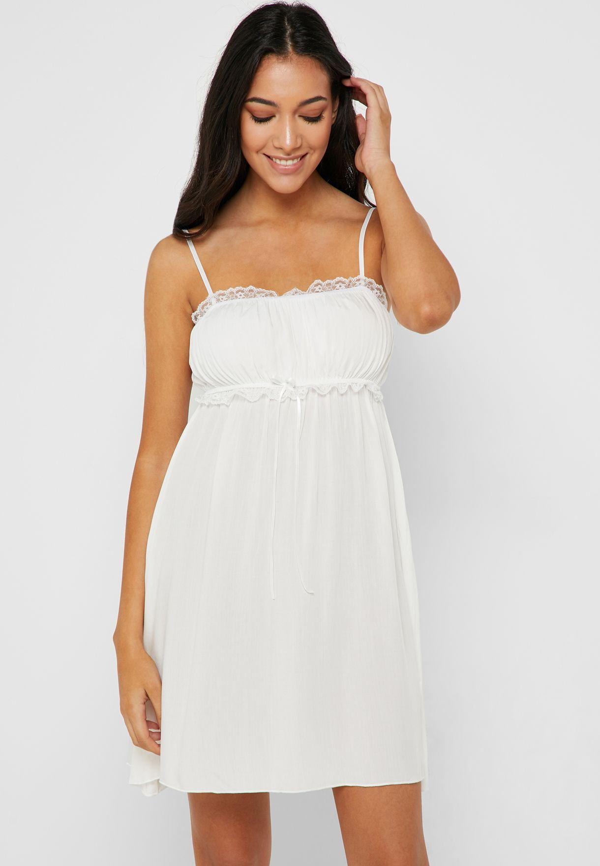3f72aac1239 Shop Ella white Lace Insert Detail Nightdress GT015 for Women in UAE ...