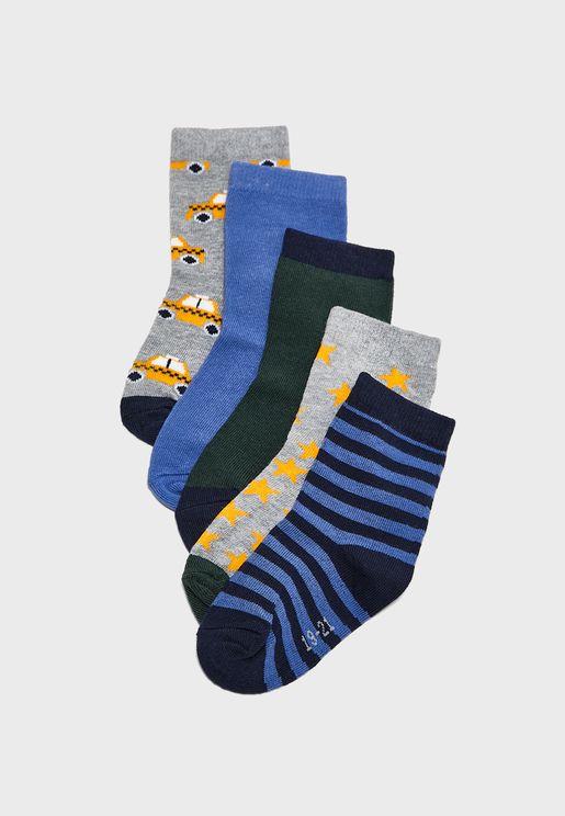 Kids 5 Pack Printed Socks