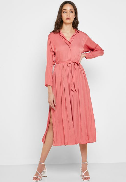 Tie Waist Side Split Shirt Dress