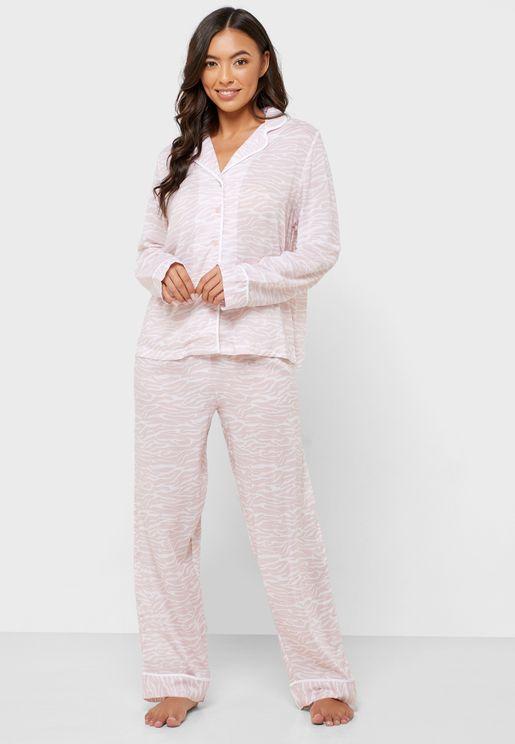 Zebra Print Shirt & Pyjama Set
