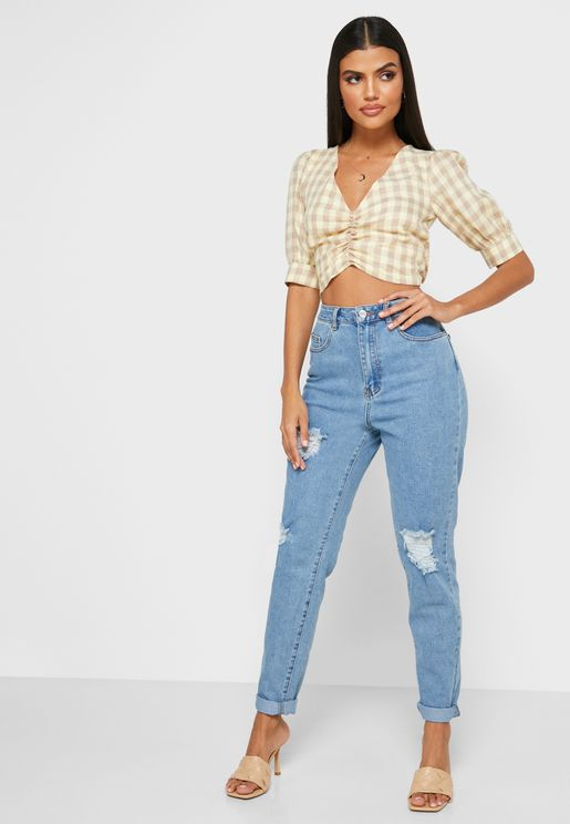 Comfort Stretch Ripped Mom Jeans