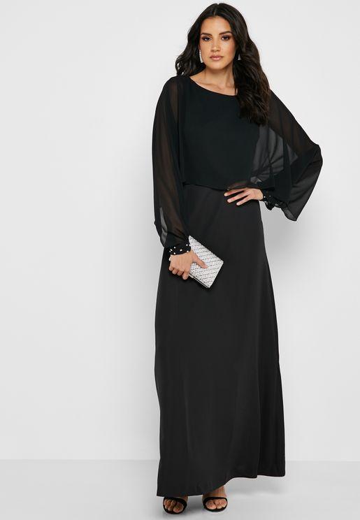 فستان بطبقة شفافة