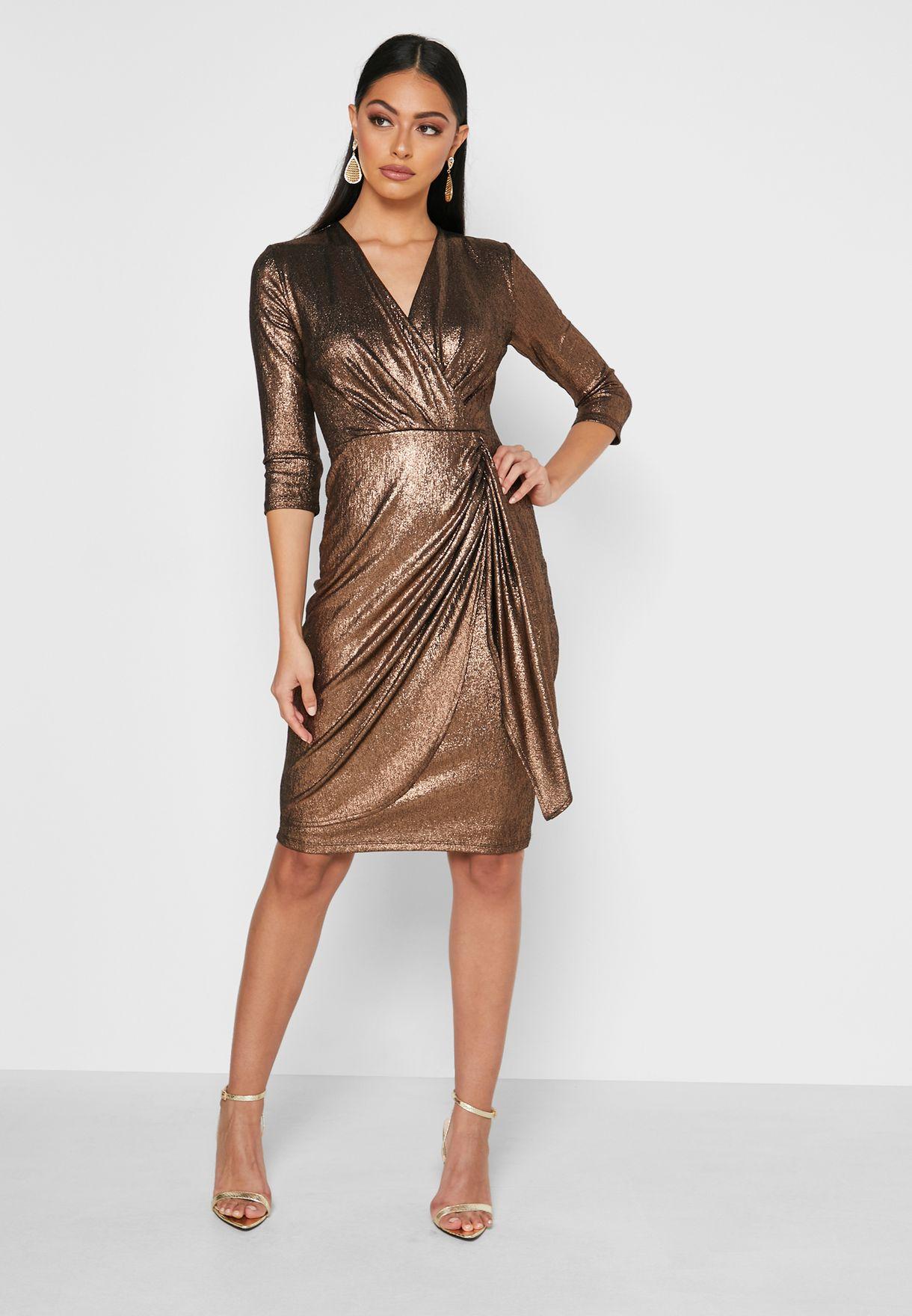 Wrap Style Metallic Shine Dress