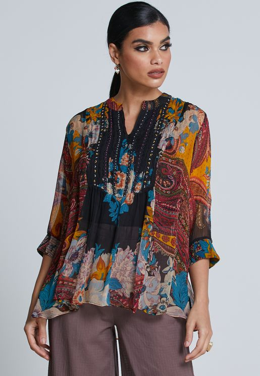 Balloon Sleeve Printed Top
