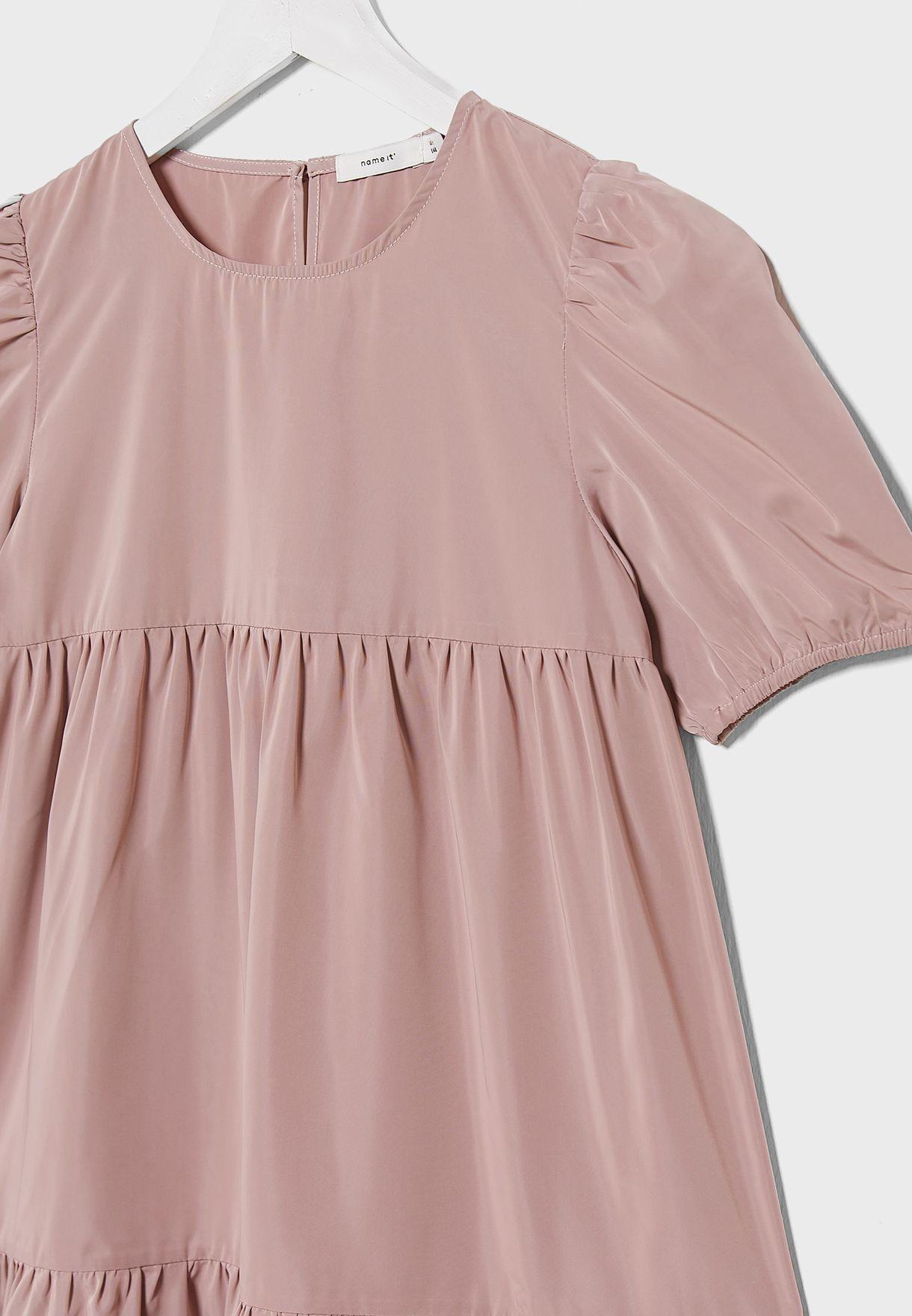 فستان باكمام منفوخة للاطفال