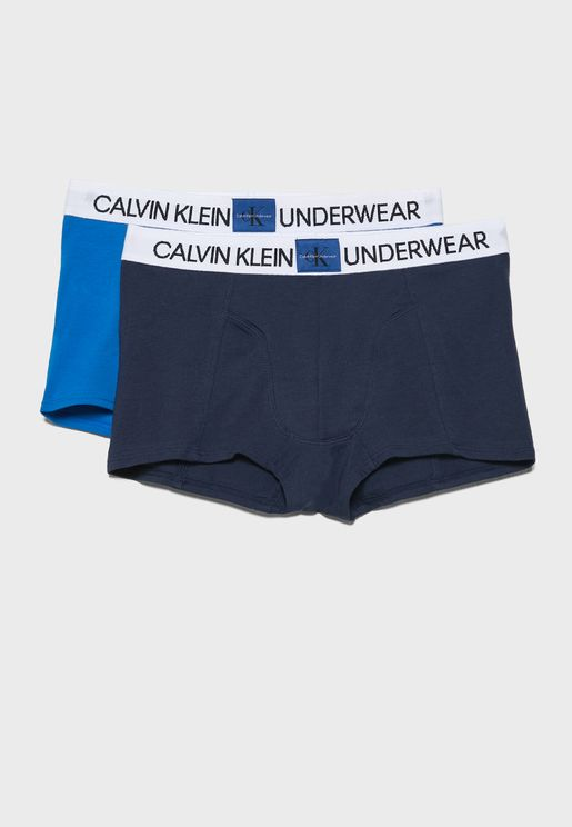 Teen 2 Pack Logo Strap Boxer Shorts