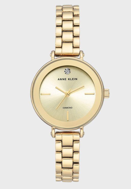 AK3386CHGB Steel Strap Analog Watch