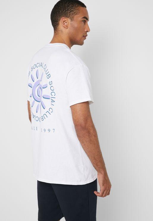 Social Sun Print Crew Neck T-Shirt