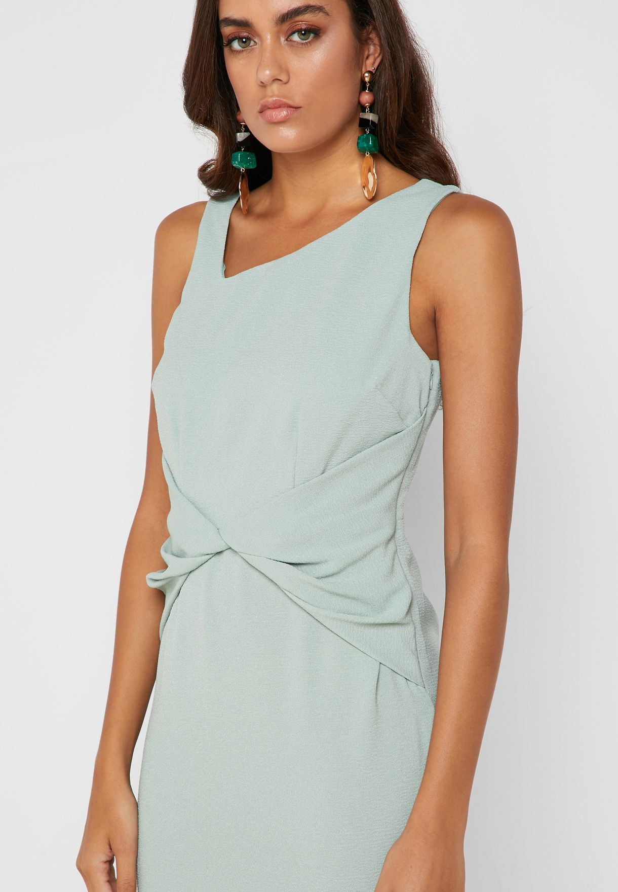 Asymmetric Front Ruched Dress